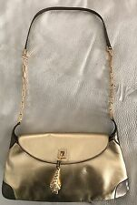 Gucci Gold Leather & Gold Tone Chain Strap Tiger Head Shoulder Bag
