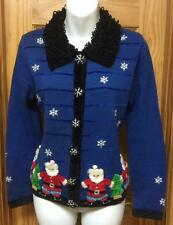 Womens Jack B Quick Santa Claus Ugly Tacky Christmas Sweater Cardigan Size PP