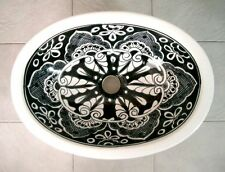 #086 SMALL BATHROOM SINK 16x11.5 MEXICAN CERAMIC HAND PAINT DROP IN UNDERMOUNT