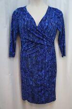 Lauren Ralph Lauren Dress Sz 16 Blue 3/4 Sleeve Tonal Career Cocktail Jersey
