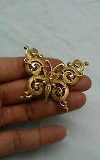 Vtg  Statement crown Trifari ornate butterfly gold tone  pin brooch