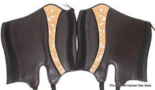 D.A. Brand Brown White Trim Beads Half Chaps Size XLarge Horse Tack