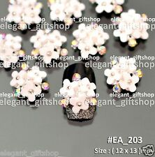 #EA203 White Flower luxurious Jewelry Alloy Nail Art Tips Decoration Rhinestones