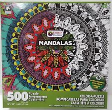 GN KARMIN® 500pc COLOR•A•PUZZLE Adult MANDALAS Coloring PUZZLE Jig Saw 500 PC