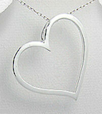 """BIG 4.2g Solid Sterling Silver 1.38"""" Heart Pendant"""