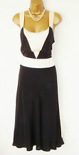 COAST BLACK CREAM SILK DRESS SZ 14 COCKTAIL  FULLY LINED  20's 40's