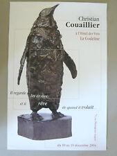 Affiche originale Christian COUAILLIER 2004 Sculpture Bronze Pingouin Angers