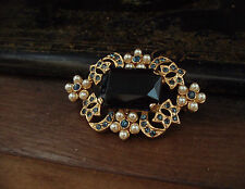 Vintage Jewellery Emerald Cut Montana Blue Crystal & Pearl Brooch
