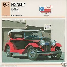FICHE AUTOMOBILE GLACEE US USA CAR FRANKLIN AIRMAN 1928