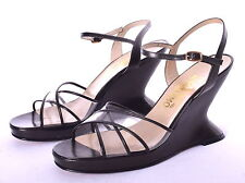 SALVATORE FERRAGAMO Black Leather & Clear Uppers Wedge Ankle Strap Sandals 9 B