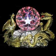 Feng Shui Gold Dragon Phoenix Base Plasma Ball Tesla Magic Lightning Sphere Lamp
