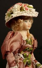 Doll House Miniature Victorian Lady in Pink Lace and Flower Dress