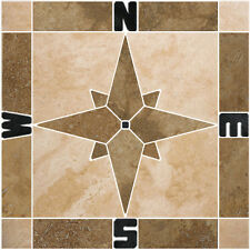 "12"" Travertine Compass Rose Mosaic Tile Medallion Backsplash Wall Flooring Floor"