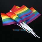 Lots 12pcs Rainbow Gay Pride Carnival Festival Hand Waving Small Flags