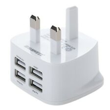 4 USB Ports 3 Pin UK 3.1A Wall Plug Charger for Tablet iPhone 5 6 Samsung iPad