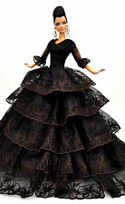 Eaki Black Lace Silkstone Barbie Fashion Royalty Evening Dress Outfit Gown FR