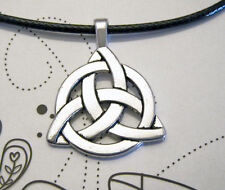 Antique Silver Plated Celtic Knot Charm Pendant Black Leather -Ette Necklace