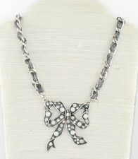 Antique Silver Crystal & Pearl Large Bow Pendant Necklace New