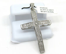 0.56ct Mens 10k White Gold  Round Diamond Pave Curved Cross Pendant