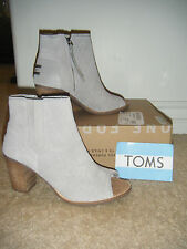 NEW Toms 'Majorca' Peep Toe Bootie Ankle Boots, Size 8.5, Gray Suede, Diamond