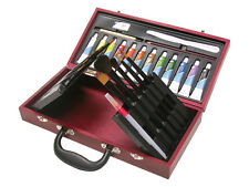 WATERCOLOUR ARTIST PAINTING BOX SET 12 TUBES PAINT & 12 BRUSHES & TOOLS  WAT2010