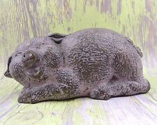 BRONZE HAPPY PIG WITH PINK PATINA SIGNED MH