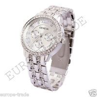 Geneva Chronograph Designer Style Ladies Women Rhinestone Silver Watch