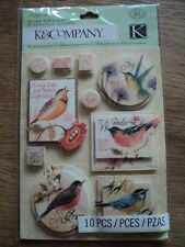 K & CO SUSAN WINGET NATURE BIRD GRAND ADHESIONS STICKERS BNIP