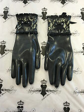 Custom Made MEDIUM Bordelle Gloves Westward Bound Latex rubber R1573 Black/Trans