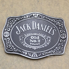 Silver & Black 70s Men Western Jack Daniels Element Emboss Enamel Belt Buckle W7