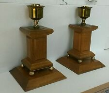 Beautiful Vintage Candle Holder With Wood And Brass Set of 2