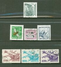 S. Korea 1952-67: #372/C8 - 7 Cancelled Stamps;Plane- Lot#8/31
