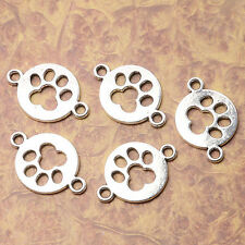 Tibetan silver plated footprint 2 holes connectors 14pcs  EF3528