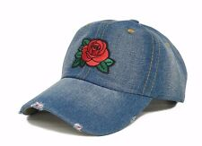Rose Embroidery Distressed Denim Dad Hat Blue Baseball Cap Strapback Curved Bill