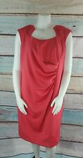Calvin Klein Watermelon Pink Ruched Stretch Sheath Cocktail Dress Plus Size 22W