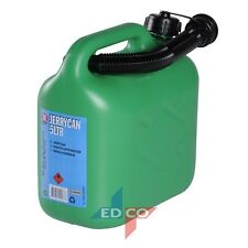 5L GREEN PETROL JERRY CAN UNLEADED FUEL OIL CANISTER CONTAINER AND SPOUT 5 litre