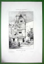 FRANCE Wooden Timber House at Angers - SUPERB Litho Antique Print