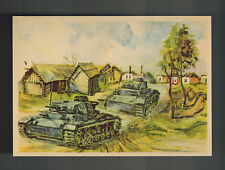Mint WW2 Germany Army Wehrmacht Tank in Russia Village Artist Picture Postcard