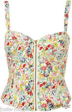 Topshop Flower Cup Corset UK 10 EUR 38 Zip Front Floral Denim Summer New BNWT