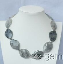 N1507558 Natural Cloudy Quartz Faceted Chunk necklace