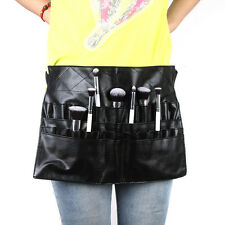 PVC Professional Cosmetic Makeup Brush Apron Bag Artist Belt Strap Holder Black