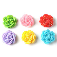 30x Hot Sale Crystal Pink Rose Flower Resin Flatback Stick-on Handmade 20mm L