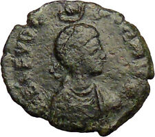 Aelia Eudoxia crowned by Hand of God Arcadius wife Ancient Roman Coin  i29161