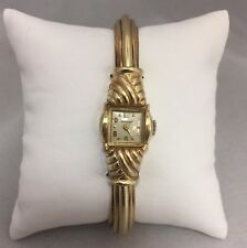LADIES 10K KARAT YELLOW GOLD FILLED BENRUS WATCH and ART DECO BANGLE BRACELET