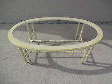 Vintage Lane Faux Bamboo Oval Shaped Coffee Cocktail Table Hollywood Regency MCM