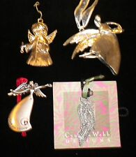 Lot of 4 Metal Pewter Aluminum Angel Ornaments Charms