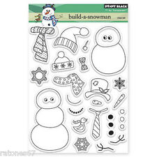 New Penny Black BUILD A SNOWMAN Clear Stamps Winter Christmas Holidays Snow Star