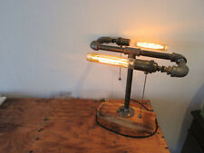 Vintage Industrial Retro Style Table Desk Lamp Wooden Base Two Edison Light Bulb