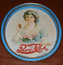 VINTAGE PEPSI COLA SODA TIN METAL OVAL TRAY 14 X 12 VICTORIAN LADY