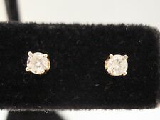 14K YELLOW GOLD 0.20 ROUND CUT DIAMOND STUD EARRINGS